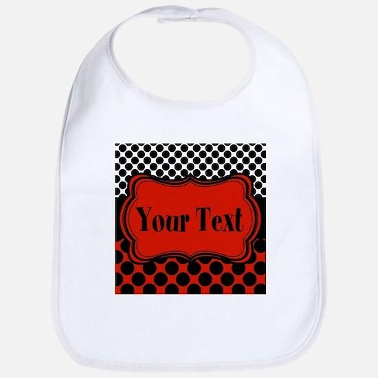 Red Black Polka Dot Personalizable Bib