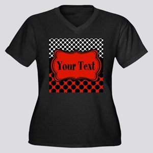 Red Black Polka Dot Personalizable Plus Size T-Shi