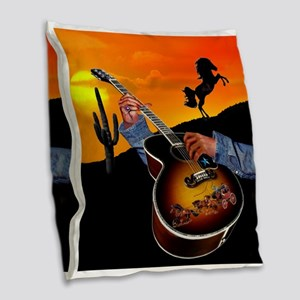 Country Music Burlap Throw Pillow