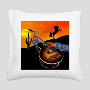 Country Music Square Canvas Pillow