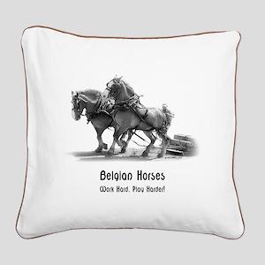 Belgian Horse Square Canvas Pillow