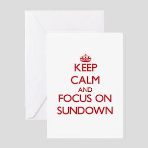 Keep Calm and focus on Sundown Greeting Cards