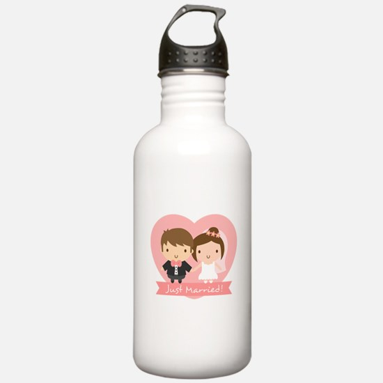 Cute Just Married Bride and Groom Water Bottle