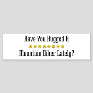Hugged Mountain Biker Bumper Sticker