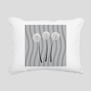 White Roses Rectangular Canvas Pillow