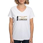 Save a horse, ride a cowboy Women's V-Neck T-Shirt