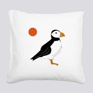 Puffin Bird Square Canvas Pillow