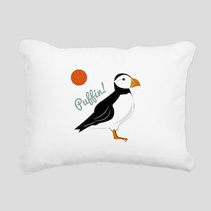 Puffin! Bird Rectangular Canvas Pillow
