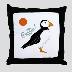 Puffin! Bird Throw Pillow