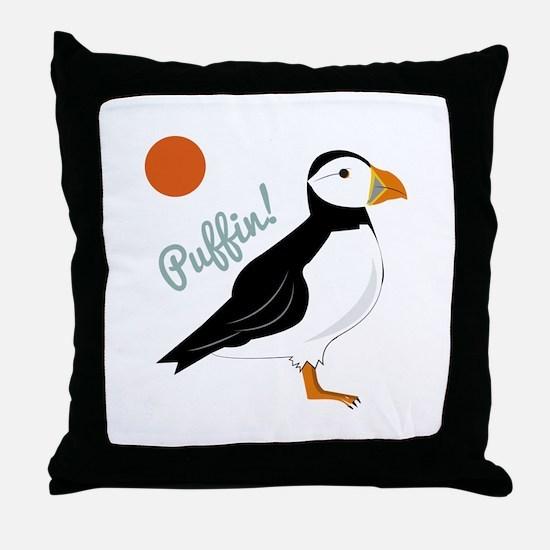 Puffin! Bird Throw Pillow