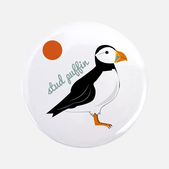 "Stud Puffin 3.5"" Button"