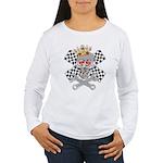 auto racing skull Women's Long Sleeve T-Shirt