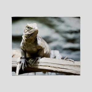 Iguana On Branch Throw Blanket