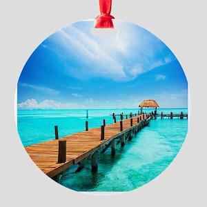 Jetty on Isla Mujeres, Mexico, Canc Round Ornament