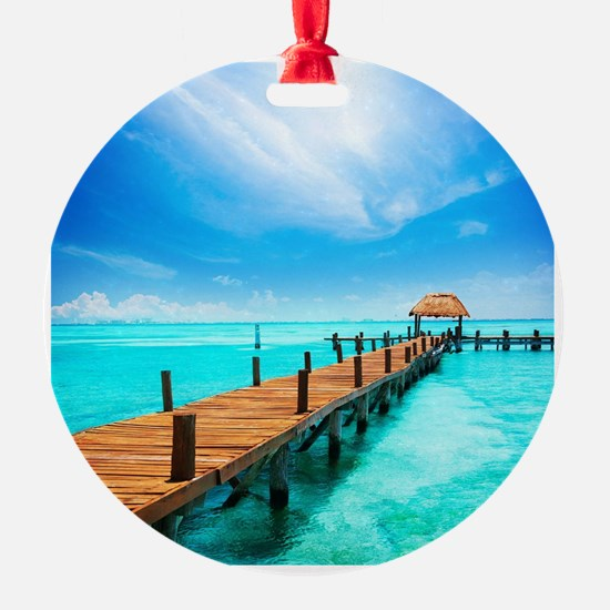 Jetty on Isla Mujeres, Mexico, Canc Ornament