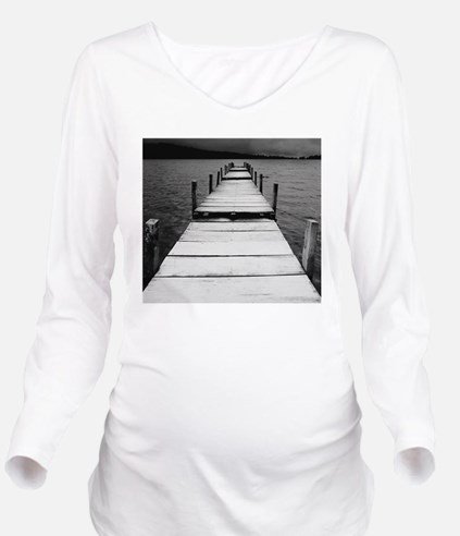 Jetty View In Black Long Sleeve Maternity T-Shirt