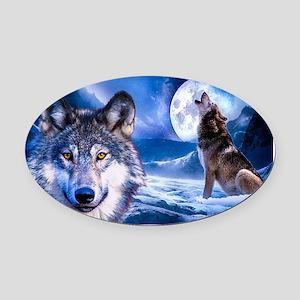 Wolf decor Oval Car Magnet