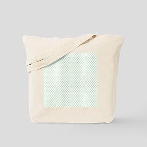 White Spring Green Tiny Polka Dots Tote Bag