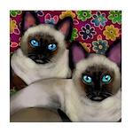 Siamese cats friends Tile Coaster