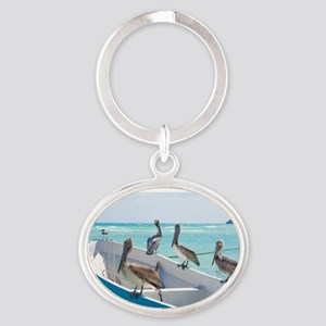 Pelicans At Playa Del Carmen, Mexico Oval Keychain