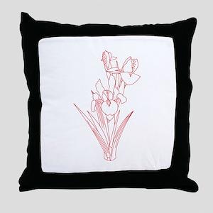 Redwork Iris Throw Pillow