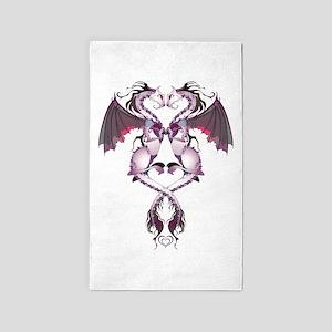 Purple Love Dragons 3'x5' Area Rug