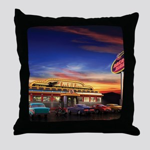 Retro American diner at dusk Throw Pillow