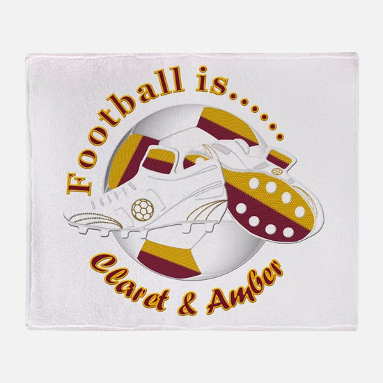 Football Colors Claret And Amber Throw Blanket