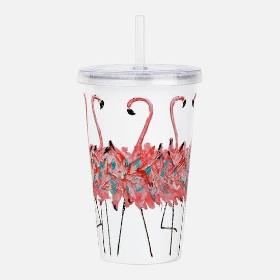 5 Pink Flamingos Acrylic Double-Wall Tumbler