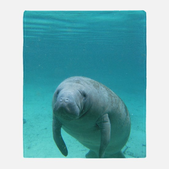 Seacow or Manatee Swimming Undereate Throw Blanket