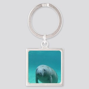 Seacow or Manatee Swimming Underea Square Keychain