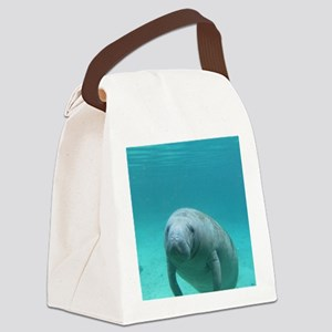Seacow or Manatee Swimming Undere Canvas Lunch Bag