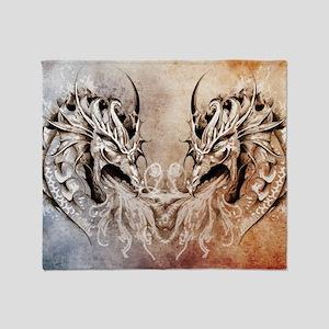 Tattoo art, fantasy medieval dragons Throw Blanket