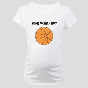 Custom Orange Basketball Maternity T-Shirt
