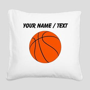 Custom Orange Basketball Square Canvas Pillow