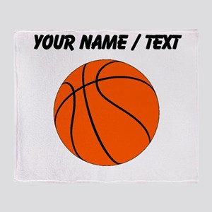Custom Orange Basketball Throw Blanket