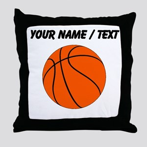 Custom Orange Basketball Throw Pillow