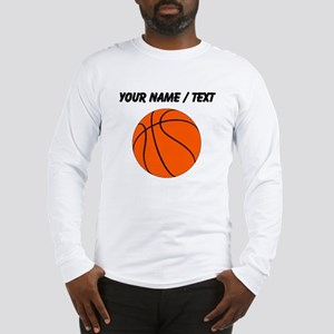 Custom Orange Basketball Long Sleeve T-Shirt