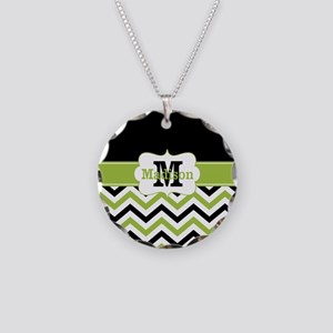 Black Lime Green Chevron Monogram Necklace