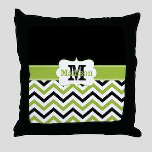 Black Lime Green Chevron Monogram Throw Pillow