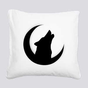 Howling Wolf Silhouette With  Square Canvas Pillow