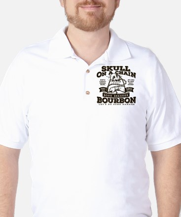 Skull on a Chain Bourbon Golf Shirt