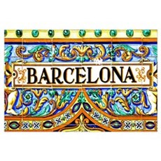 a barcelona sign over a mosaic wall Poster