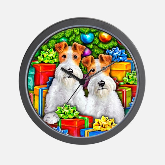 Wire Fox Terrier Open Gifts Wall Clock