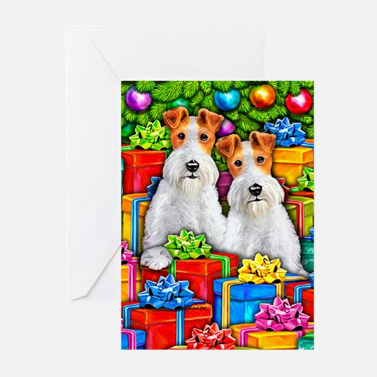 Wire Fox Terrier Open Gifts Greeting Cards (6)