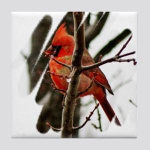 Cardinal Christmas Tile Coaster