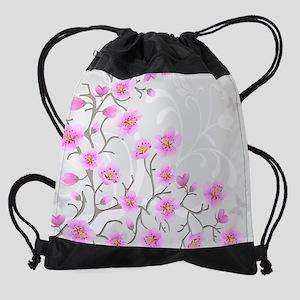 Japanese Cherry Flowers Drawstring Bag
