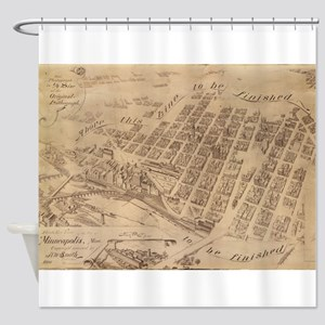 Vintage Map of Minneapolis MN (1891 Shower Curtain