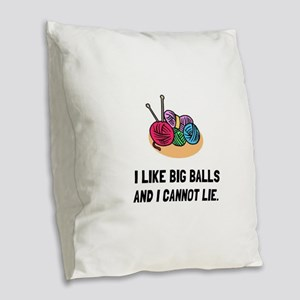 Big Knitting Balls Burlap Throw Pillow