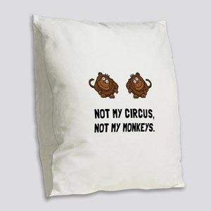 Circus Monkeys Burlap Throw Pillow
